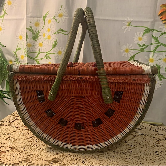 Vintage painted watermelon wicker picnic basket